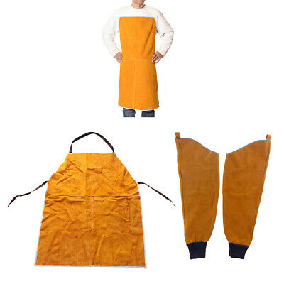 Leather Welding Apron + 1Pair Protective Split Sleeves for Workplace/ Yellow