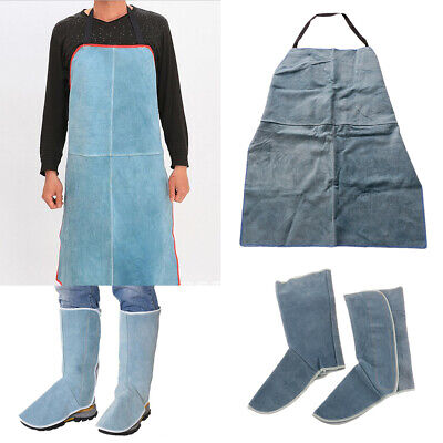 Leather Welding Apron Work Aprons Comes with A Pair of Protective Shoes Blue