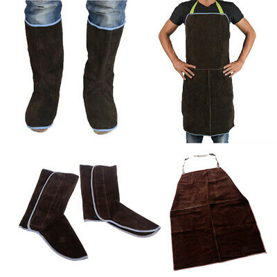 Leather Welding Apron Work Apron Comes with A Pair of Protective Shoes Brown