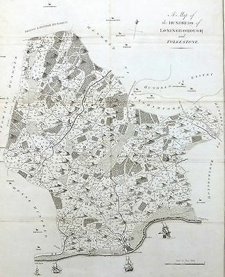 KENT, 1797 - ORIGINAL ANTIQUE MAP of Hundred of FOLKESTONE - HASTED.