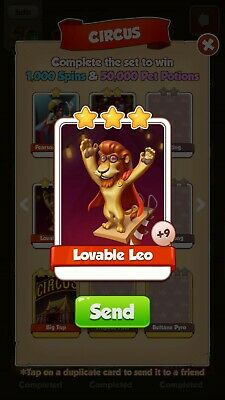 Coin Master   Lovable Leo Card. From Circus Set.please Read Item Description