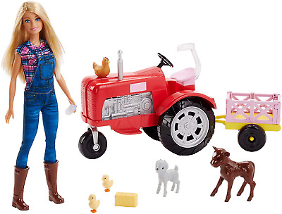 Barbie FRM18 CAREERS Farmer Tractor, Farm Yard Accessories, Blonde Doll Gift for