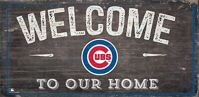 Chicago Cubs Fans Welcome Man Cave Wooden Sign Made Usa Mlb Baseball