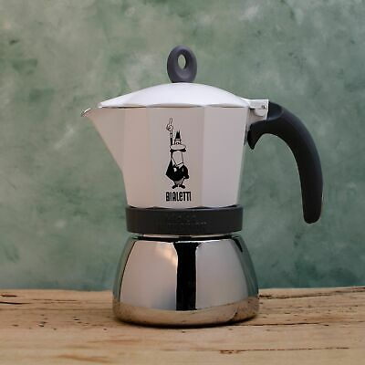 Bialetti Moka Induction Coffe Percolator White  Stovetop Coffee Maker
