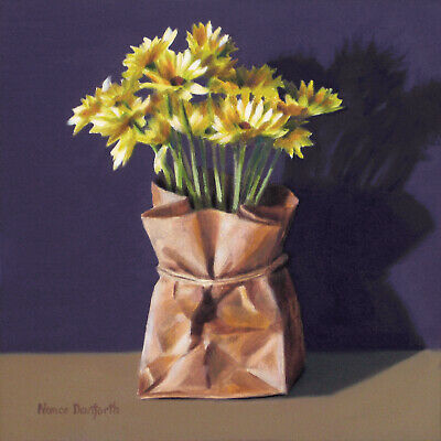 Sale! DANFORTH Daisies In Paper Bag 6x6 still life realistic oil painting