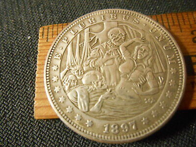 Skeletons in Hell taking a  Newly arrived Woman  Hobo Nickel Style Fantasy Coin