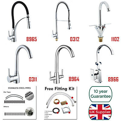 360° Rotation Swivel Kitchen Sink Mixer Taps Black Chrome Pull Out Brass Tap NEW