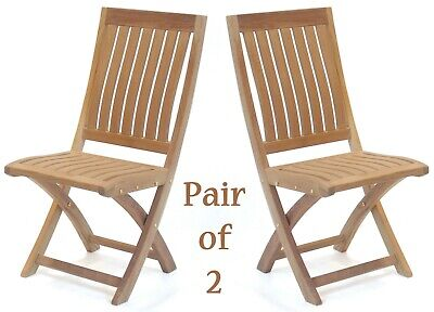 Pair of 2 Strong Solid Teak Folding Patio or Beach Side Chairs