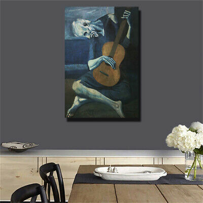 "Pablo Picasso""Old guitarist chicago"" HD print on canvas huge wall picture"