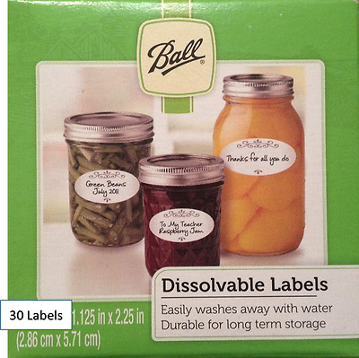 NEW CASE OF BALL 10734 DISSOLVABLE CANNING FOOD JAR LABELS 6 PACKS 1358613 360