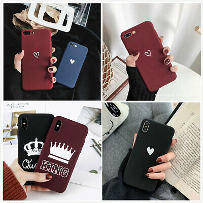 For iPhone Xs Max XR 8 7 Plus Ultra Slim Matte Heart Phone Couple Case Cover