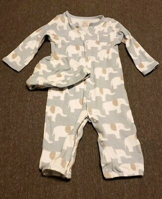 2f73624e5bde Carters Baby Boy Covertible Sleeper Gown Elephants Size 6 Months With Hat