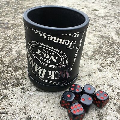 """JACK DANIEL'S """"Black"""" High Quality Leather Covered Dice Cup + 6 Game Dice *NEW*"""