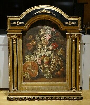 Fine 19th Century Dutch Still Life Flowers Fruit Old Master Antique Oil Painting