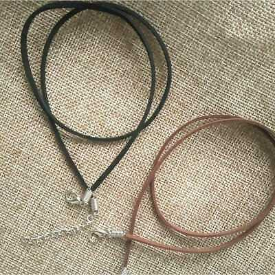Fashion DIY Cord Chain Black Brown Suede Leather String Necklace Jewelry 10pcs