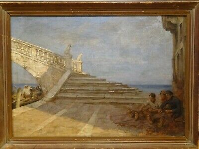 Large 19th Century Italian Venice Canal Bridge Choggia Landscape  Painting