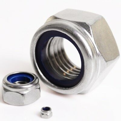 A2/A4 STAINLESS STEEL NYLOC NUTS Nylon Lock Insert Nylock M2.5 - M24 Din 985