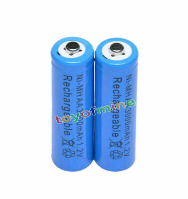 2x AA 1.2V 3000mAh Ni-MH rechargeable battery 2A cell /RC Blue