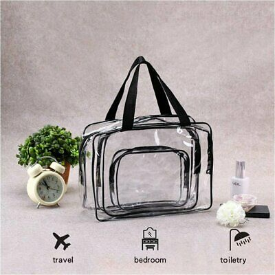 3 Size Transparent Clear Plastic Makeup Cosmetic Toiletry PVC Zipped Bag Travel