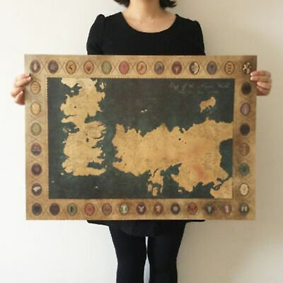 GAME OF THRONES ANTIQUE MAP WESTEROS AND ESSOS POSTER 70x51cm) PICTURE PRINT