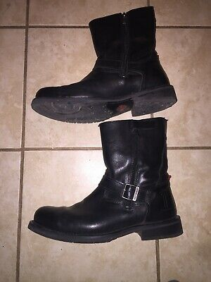 Harley Davidson Karl 9M Leather Side Zip Buckle Motorcycle Boots 93125