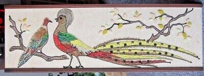 Mid Century Modern 1960's Peacock Mosaic Pebble Gravel Art Picture  #1240 F