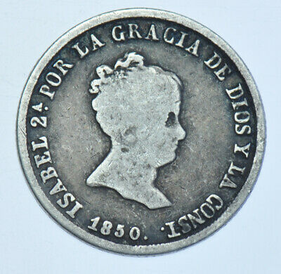 Spain Isabel Ii 2 Reales, 1850-Rd Silver Coin Gf