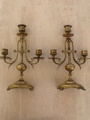 Pair  Of antique French Brass Candelabra