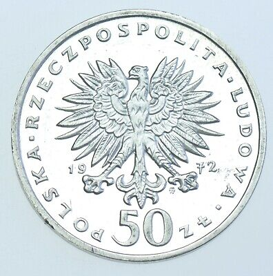 POLAND PEOPLES REPUBLIC 50 ZLOTYCH, 1972 SILVER PROOF COIN aFDC