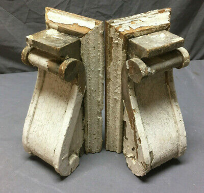 Pair Antique Corbels Shelf Brackets Shabby Vintage Chic 259-19L