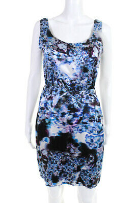 54c0ebb436e0 Erdem Womens Sleeveless Belted Sheath Dress Blue Pink Abstract Satin Size 6