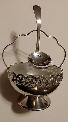 Celtic Quality Silver Plated Glass Lined Jam Condiment Serving Basket & Spoon