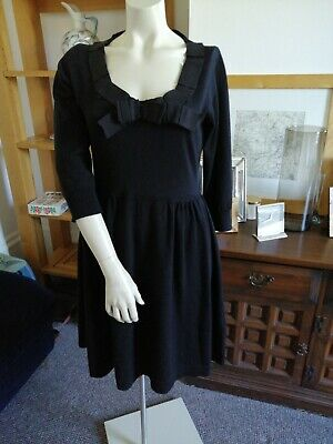 c2e11c5947b9 FABULOUS Mulberry Bag shop Ladies Black Knitted Dress with Grosgrain ribbon  Sz L