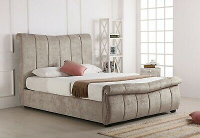 5Ft Kingsize 6Ft Bosworth Stone Fabric Sleigh Ottoman Bed - Mattress Option