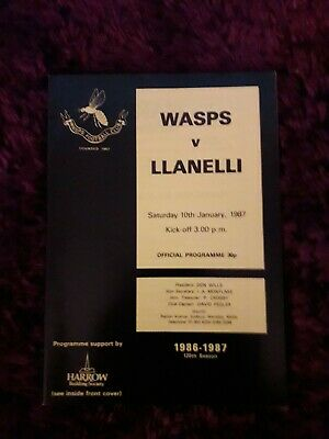 1987-Wasps V Llanelli-Anglo Welsh-Club Friendly Rugby Union Programme