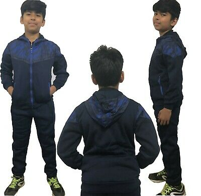 Boys/Girls Tracksuit Zipped Top  Bottoms Kids Slim Fit Jogging Suits Age 4-14