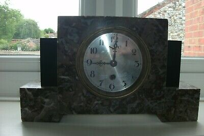 FRENCH MARBLE MANTEL CLOCK ART DECO 1930's