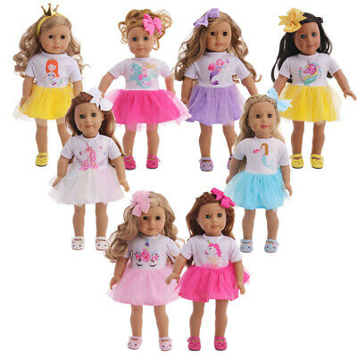 "Hot Handmade Skirt+Bow Hair Accessories Fits 18"" Inch American Girl Doll Clothes"