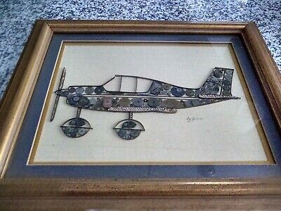 Vintage Signed Girard Steam Punk Airplane  Framed ART  Made From Watch Parts