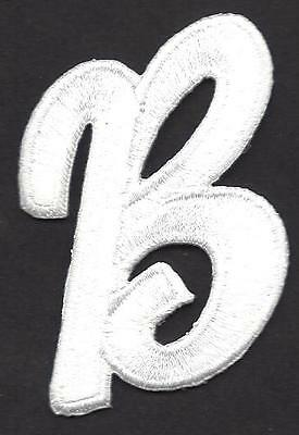 """LETTERS  - White Script  2"""" Letter """"B"""" - Iron On Embroidered Applique"""