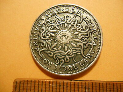SNAKES WORSHIPING the ALL SEEING CULT EYE Hobo Nickel Style Fantasy Strike Coin