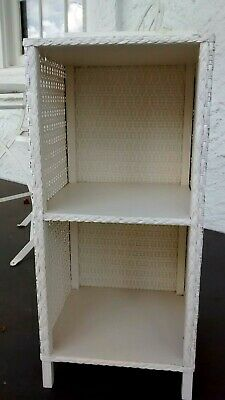 Vintage White Wicker Rattan 3 Shelf Stand Side Table