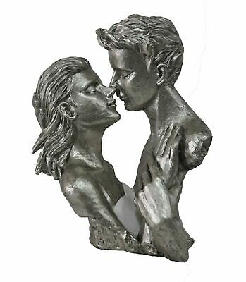 "Lovers Romantic Couple Anniversary Gift Cold Cast Resin Bronze Sculpture 12"" x 1"