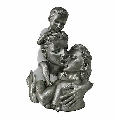 Happy Family Portrait Mother Father & Child Cold Cast Resin Bronze Sculpture 13""