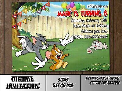 Tom And Jerry Digital Party Invitation Birthday Thank You Card Cat Mouse