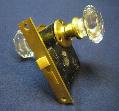 Antique Passage Mortise Door Lock 8 Point Crystal Glass Knobs Cast Brass Roses