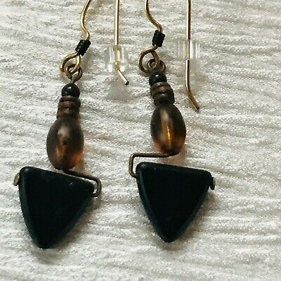 Estate Tiny Black Round Brown Oval & Plastic Triangle Bead Dangle Earrings for