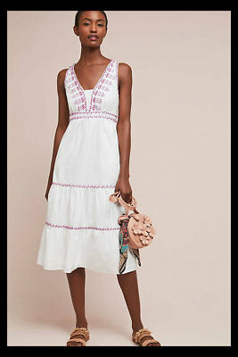 11d65a0805af NWT Anthropologie Akemi + Kin Selena Embroidered Swing Dress White Lilac 6  $178