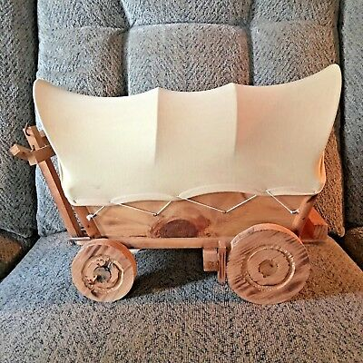 Vintage Hand Crafted Wooden Covered Wagon  / Light