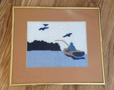 Vintage Completed  Handcrafted Needlepoint / Crossstitch Of Man in Boat Fishing